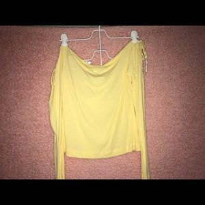 Yellow off the shoulder top PacSun